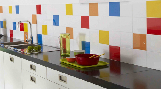 carrelage cuisine multicolore