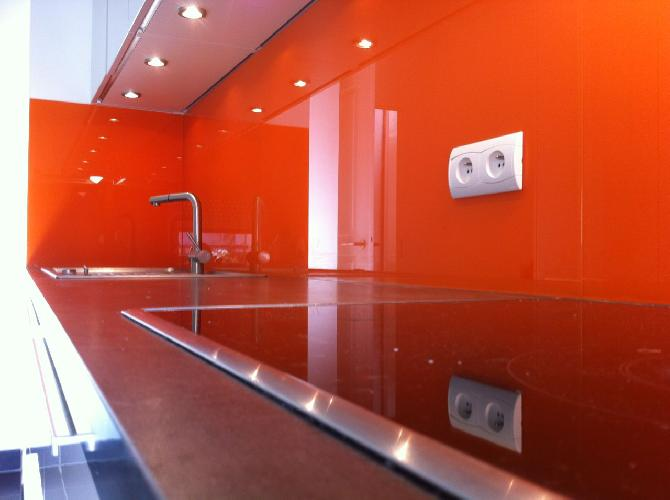 Achat credence cuisine verre orange cr dences cuisine - Credence cuisine orange ...