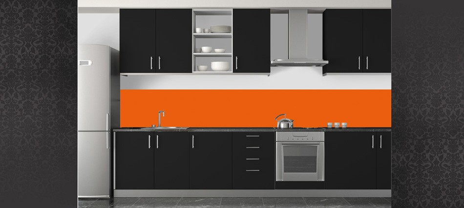 credence cuisine verre orange cr dences cuisine. Black Bedroom Furniture Sets. Home Design Ideas