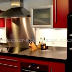 couleur credence cuisine rouge